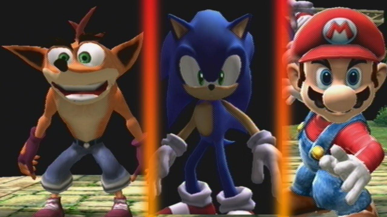 Crash, Sonic y Mario