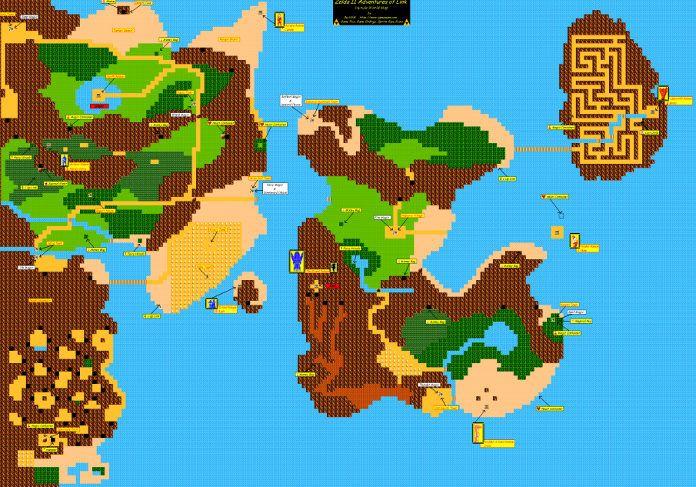 Mapa de Zelda II: Adventure of Link de 1987
