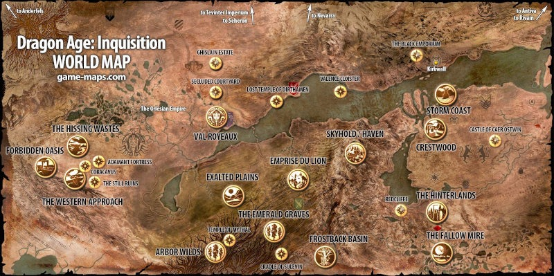 Mapa de Dragon Age Inquisition